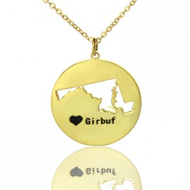 Custom Maryland Disc State Necklaces With Heart  Name Gold Plated