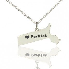 Massachusetts State Shaped Necklaces With Heart  Name Silver