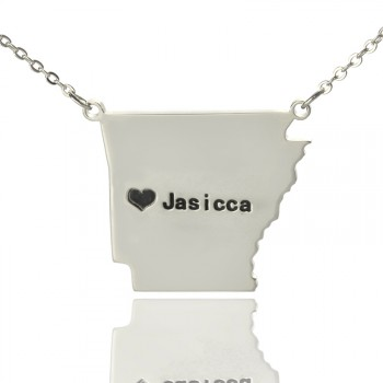 Custom AR State USA Map Necklace With Heart  Name Silver