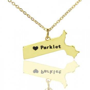 Massachusetts State Shaped Necklaces With Heart  Name Gold Plated