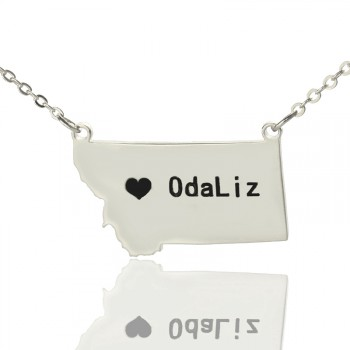 Custom Montana State Shaped Necklaces With Heart  Name Silver