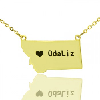 Custom Montana State Shaped Necklaces With Heart  Name Gold Plated