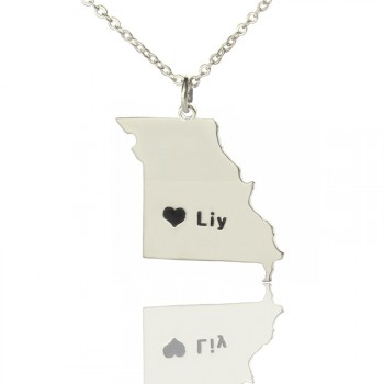 Custom Missouri State Shaped Necklaces With Heart  Name Silver