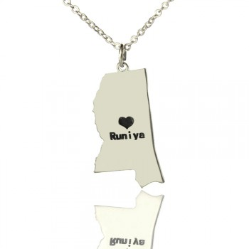 Mississippi State Shaped Necklaces With Heart  Name Silver