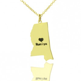 Mississippi State Shaped Necklaces With Heart  Name Gold Plated