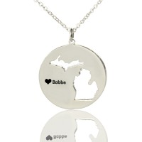 Custom Michigan Disc State Necklaces With Heart  Name Silver