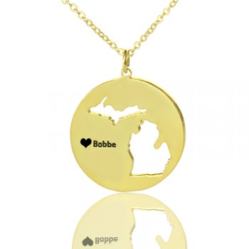 Custom Michigan Disc State Necklaces With Heart  Name Gold Plated