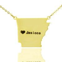 Custom AR State USA Map Necklace With Heart  Name Gold Plated