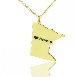 Custom Minnesota State Shaped Necklaces With Heart  Name Gold Plated