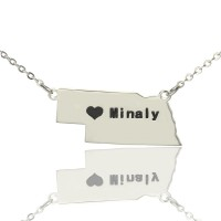 Custom Nebraska State Shaped Necklaces With Heart  Name Silver
