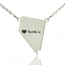 Custom Nevada State Shaped Necklaces With Heart  Name Silver