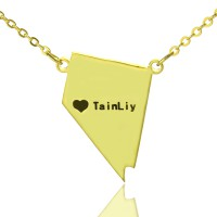 Custom Nevada State Shaped Necklaces With Heart  Name Gold Plated