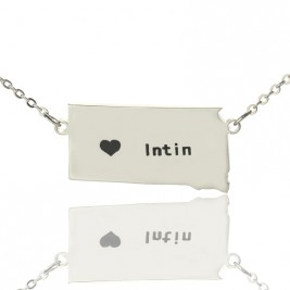 South Dakota State Shaped Necklaces With Heart  Name Silver