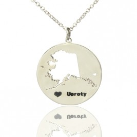 Custom Alaska Disc State Necklaces With Heart  Name Silver