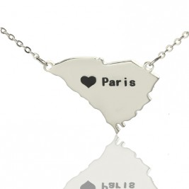 South Carolina State Shaped Necklaces With Heart  Name Silver