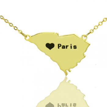 South Carolina State Shaped Necklaces With Heart  Name Gold Plated