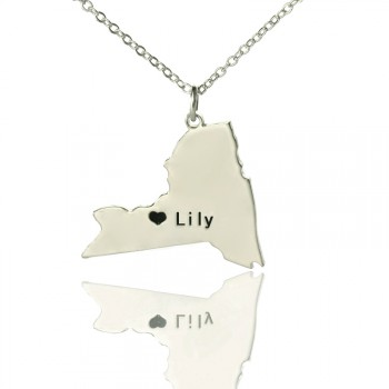 Personalised NY State Shaped Necklaces With Heart  Name Silver