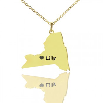 Personalised NY State Shaped Necklaces With Heart  Name Gold Plated