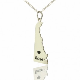Custom Delaware State Shaped Necklaces With Heart  Name Silver