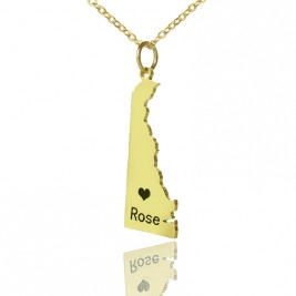Custom Delaware State Shaped Necklaces With Heart  Name Gold Plated