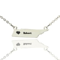 Custom Tennessee State Shaped Necklaces With Heart  Name Silver
