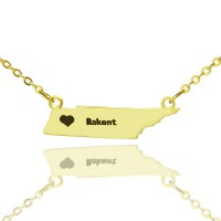Custom Tennessee State Shaped Necklaces With Heart  Name Gold Plated