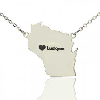 Custom Wisconsin State Shaped Necklaces With Heart  Name Silver