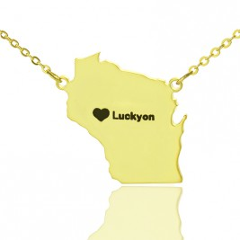 Custom Wisconsin State Shaped Necklaces With Heart  Name Gold Plated