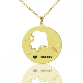Custom Alaska Disc State Necklaces With Heart  Name Gold Plated