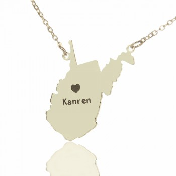 Custom West Virginia State Shaped Necklaces With Heart  Name Silver