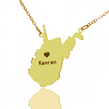 Custom West Virginia State Shaped Necklaces With Heart  Name Gold