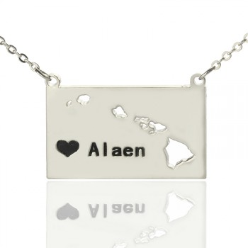 Custom Hawaii State Shaped Necklaces With Heart  Name Silver