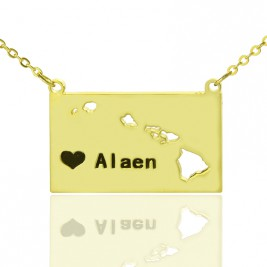 Custom Hawaii State Shaped Necklaces With Heart  Name Gold Plated