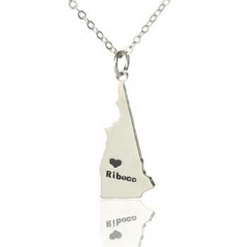 Custom New Hampshire State Shaped Necklaces With Heart  Name Silver