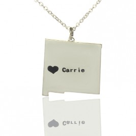 Custom New Mexico State Shaped Necklaces With Heart  Name Silver