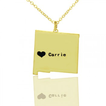 Custom New Mexico State Shaped Necklaces With Heart  Name Gold Plate