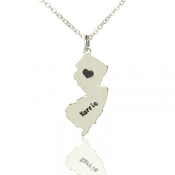 Custom New Jersey State Shaped Necklaces With Heart  Name Silver
