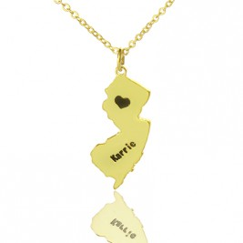 Custom New Jersey State Shaped Necklaces With Heart  Name Gold