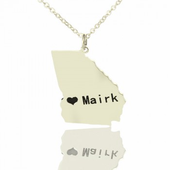 Custom Georgia State Shaped Necklaces With Heart  Name Silver