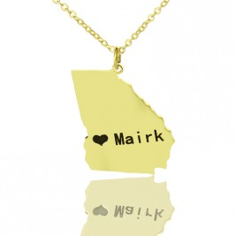 Custom Georgia State Shaped Necklaces With Heart  Name Gold Plated