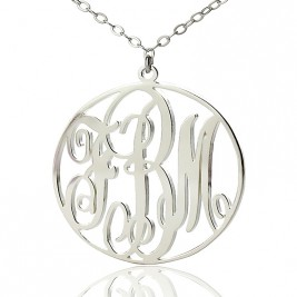 Personalised Necklace Fancy Circle Monogram Necklace Silver