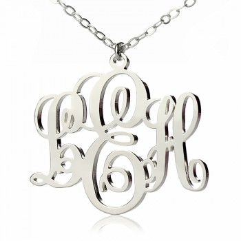 Personalised Vine Font Initial Monogram Necklace 18ct White Gold Plated
