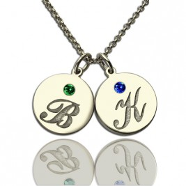 Personalised Disc Necklace with Initial  Birthstone