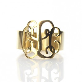 Solid Gold Personalised Monogram Ring