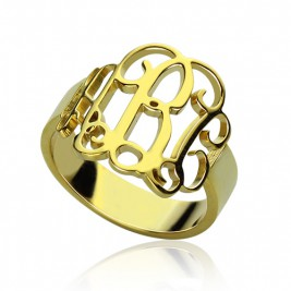 18ct Gold Plated Monogram Ring Cut Out