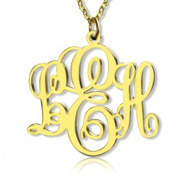 Perfect Fancy Monogram Necklace Gift 18ct Gold Plated