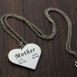 """Mother"" Family Heart Necklace Sterling Silver"