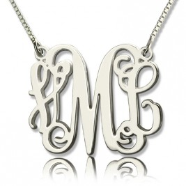 Personalised Monogram Initial Necklace Sterling Silver