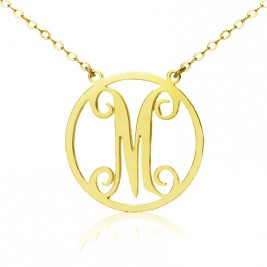 Solid Gold 18ct Single Initial Circle Monogram Necklace
