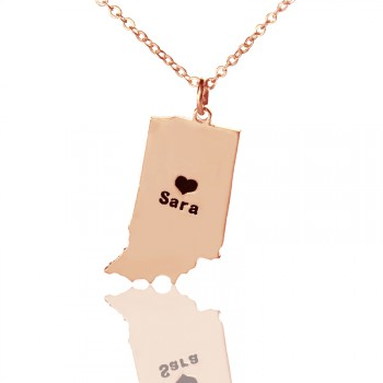 Custom Indiana State Shaped Necklaces With Heart  Name Rose Gold